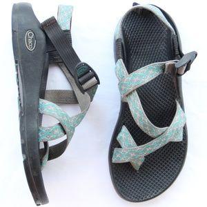 Chacos Sandals Toe Loop Gray Aqua Hiking Shoes 8